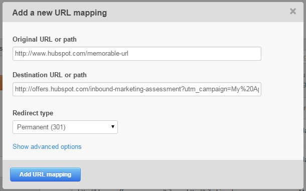 Mappage pour une URL de suivi