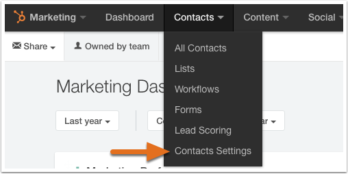 navigate to contacts settings