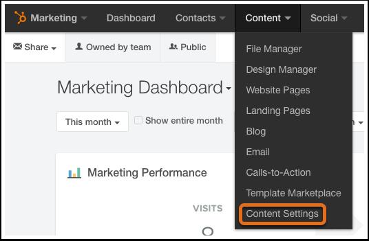 navegación a configuración de contenido