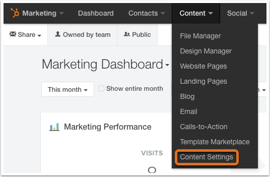 content settings navigation