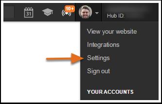 account menu settings