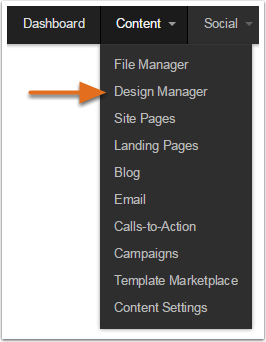 Navigate to Design Manager