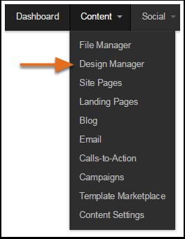 Design Manager navigation