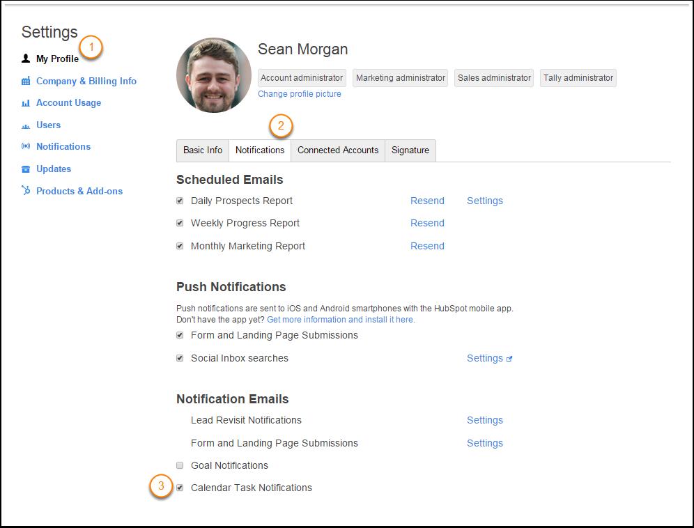 activar/desactivar notificaciones de tareas en el calendario