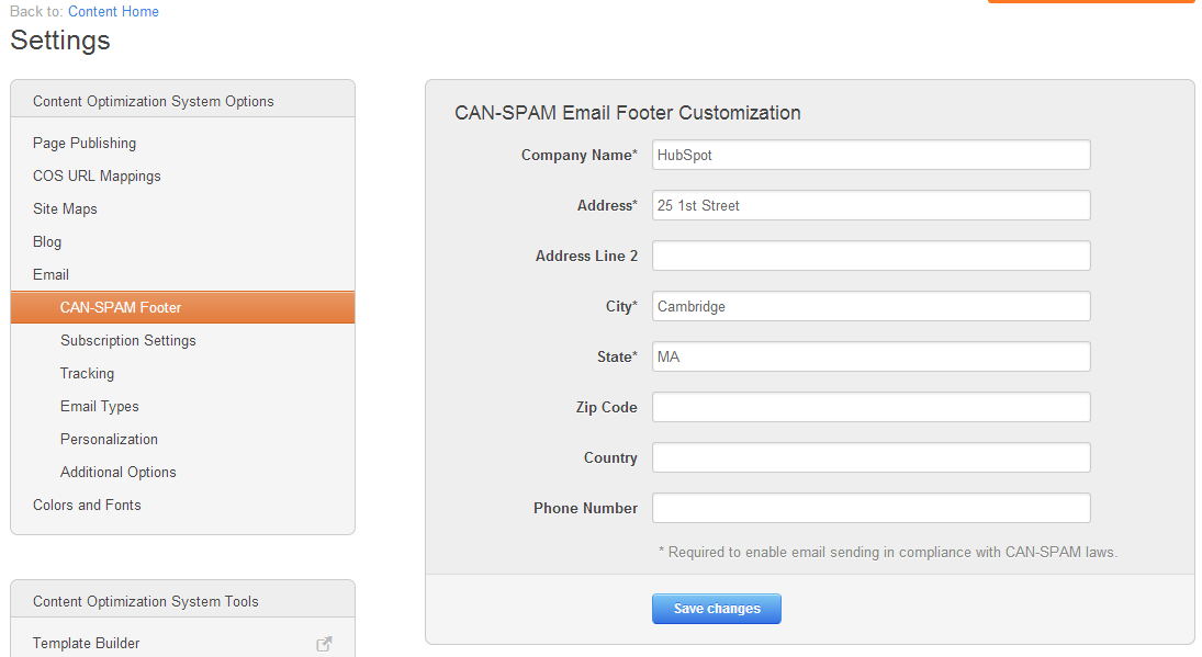 Configuración de contenido CAN-SPAM