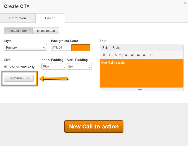 CTA [Customize CSS(CSSをカスタマイズ)]ボタン