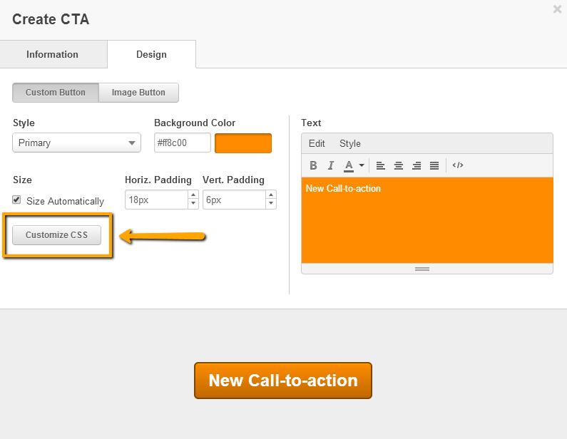 Botón Personalizar CSS de la CTA