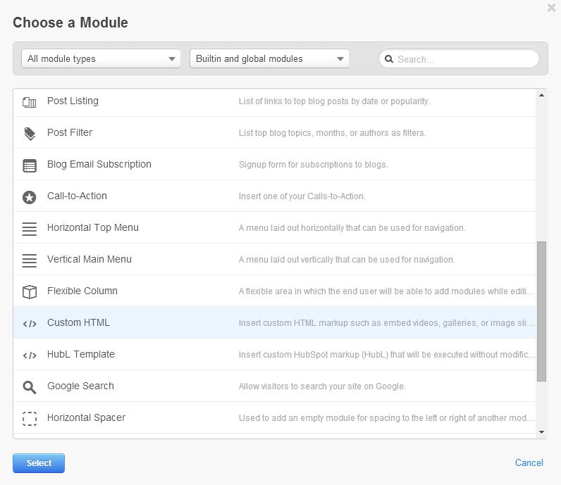 Choose HTML Module