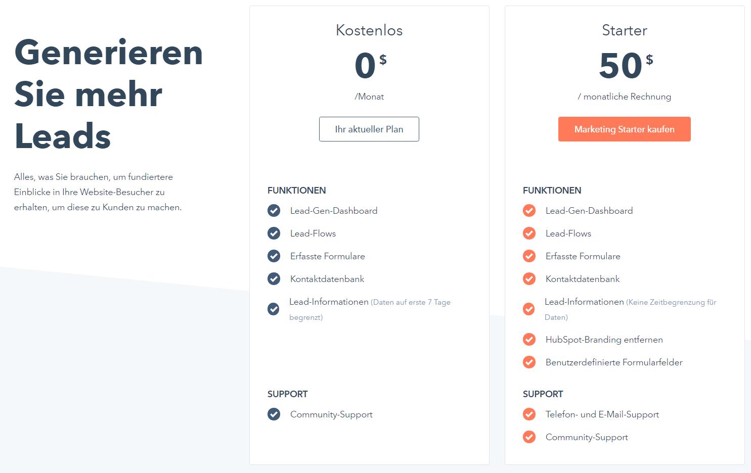 Upgrade zu HubSpot Marketing Starter
