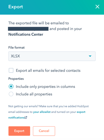 contacts-export-dialog-box
