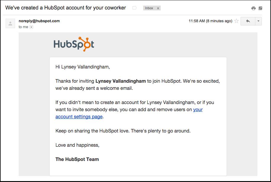 HubSpot – Benutzerrollen – Benachrichtigungs-E-Mail