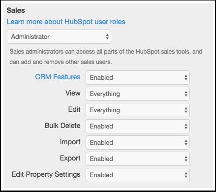 HubSpot – Benutzerrollen – Zugriffsberechtigungen wählen