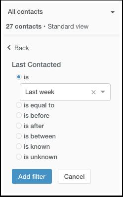 HubSpot CRM – Kontaktdatenbank – Nach letzter Kontaktaufnahme filtern