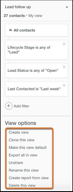 HubSpot CRM – Kontaktdatenbank – Optionen für benutzerdefinierte Ansichten
