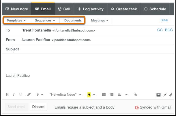 HubSpot CRM – Kontaktdatenbank – Vorlagen, Sequenzen, Dokumente