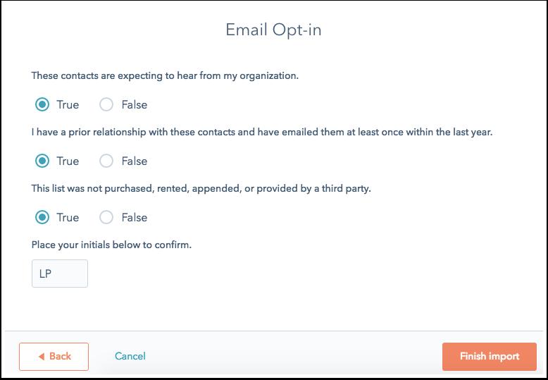 HubSpot CRM – Kontakte & Unternehmen importieren – E-Mail-Opt-in bestätigen