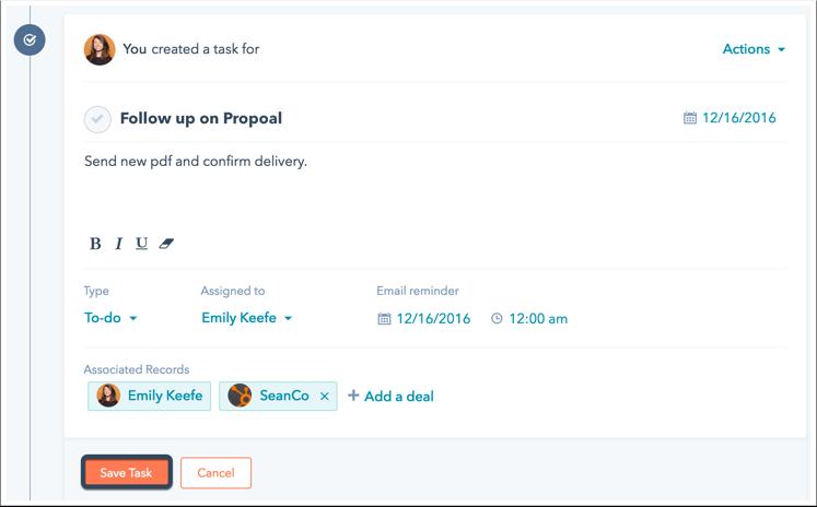 Guardar cambios de tarea en HubSpot CRM
