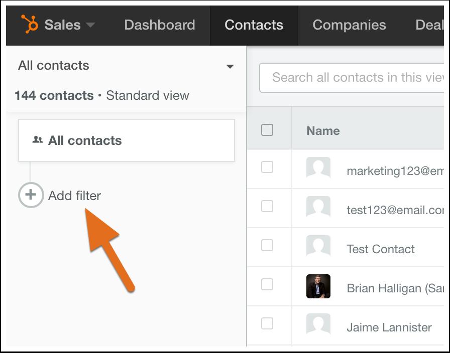 HubSpot CRM – Kontaktdatenbank – Neuen Ansichtfilter erstellen