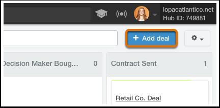 HubSpot CRM – Deals – Deal hinzufügen