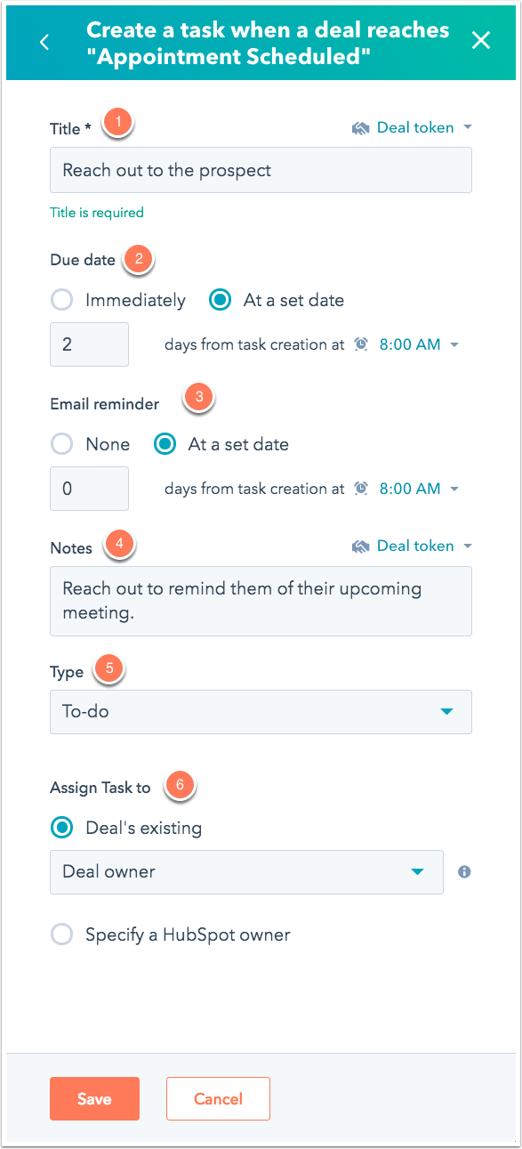 create a task when deal is schedule