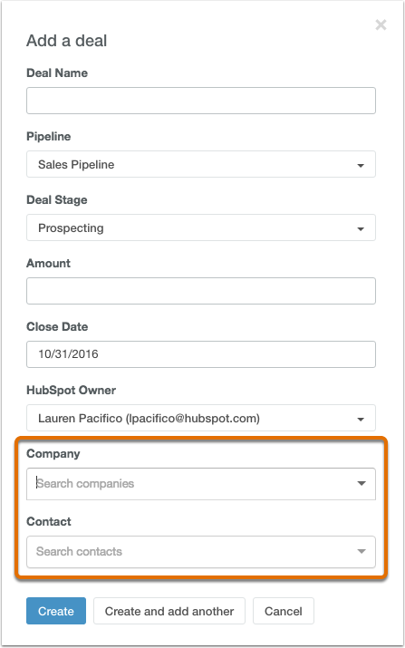 HubSpot CRM – Deals – Deals Kontakten oder Unternehmen zuordnen