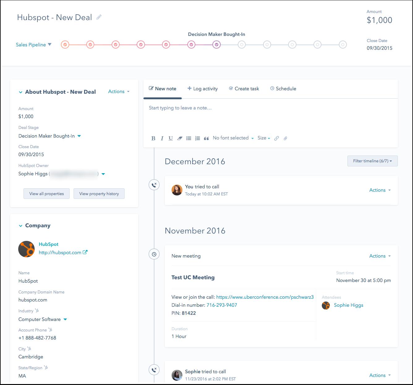 Administrar negocio en HubSpot CRM