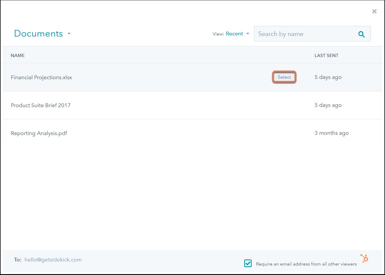 HubSpot Sales – Dokumente – Dokumente in Gmail teilen
