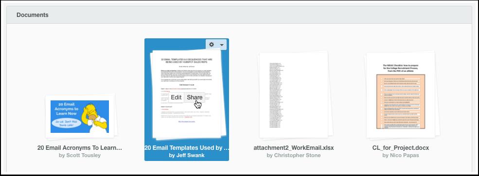 HubSpot Sales – Dokumente – Dokumente vom Dashboard aus teilen