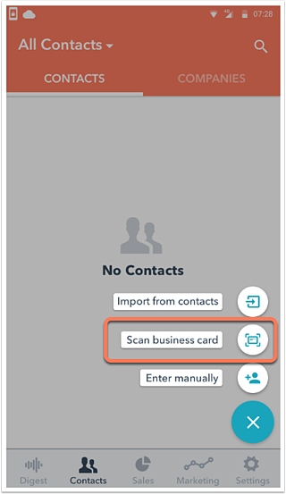 How does business card scanning work in the hubspot mobile app for hover your device over the business card hubspot will automatically detect the edges of the card and take a photo reheart Choice Image