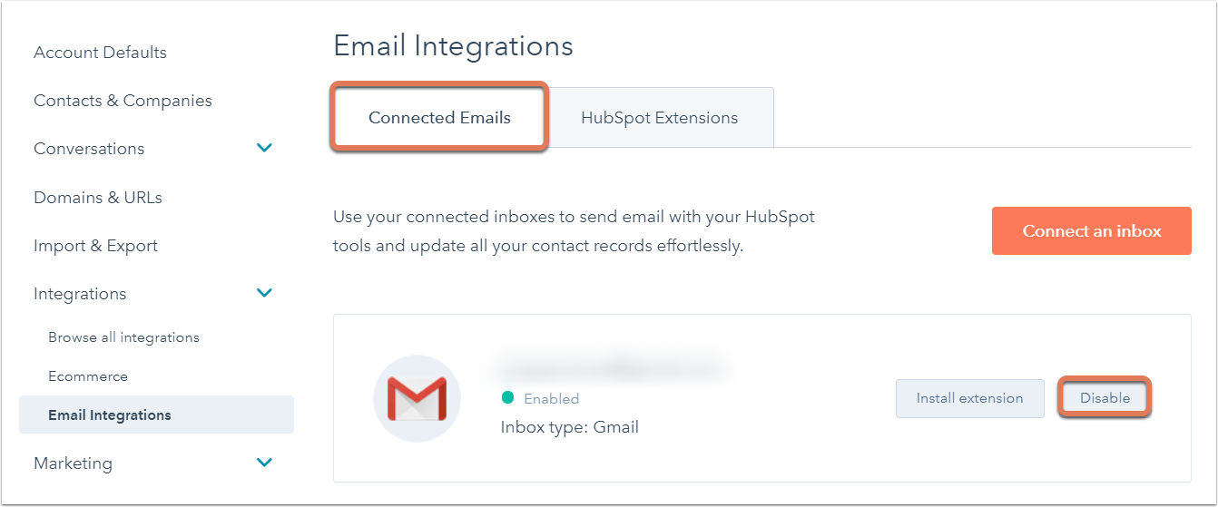 Disconnect your inbox from HubSpot