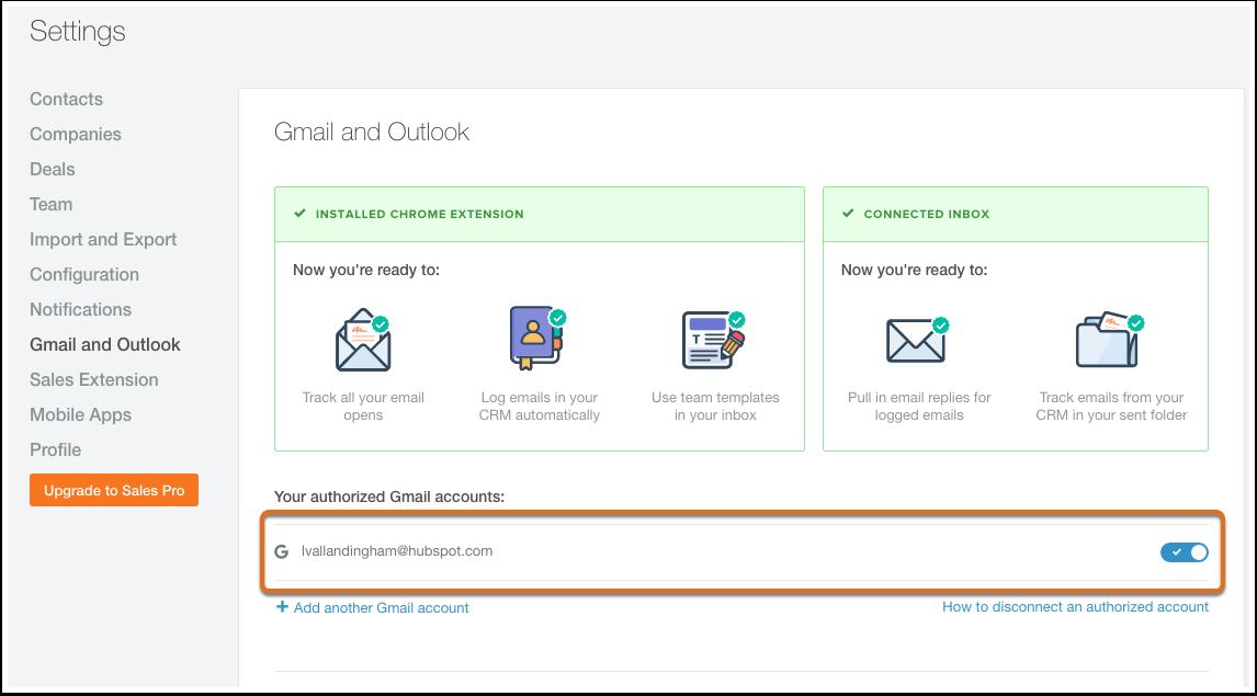 HubSpot Sales – Ihre autorisierten E-Mail-Accounts