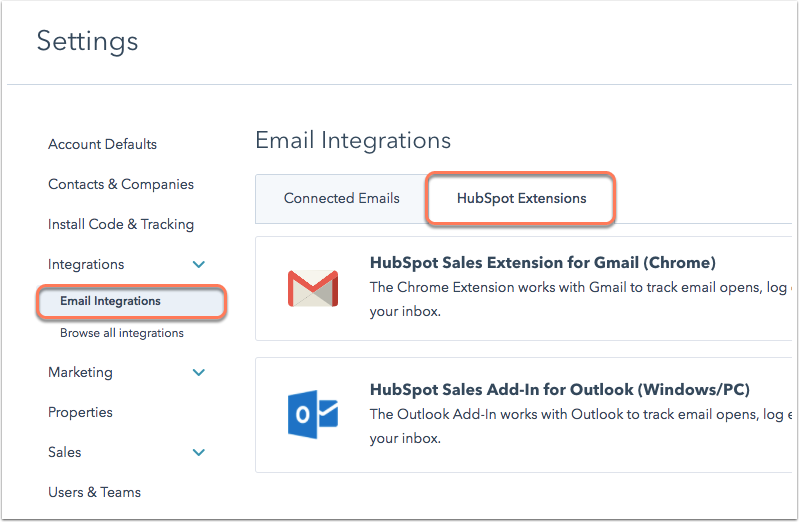 Die Registerkarte HubSpot-Erweiterungen in den E-Mail-Einstellungen