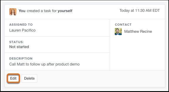 HubSpot CRM – Aufgaben – Aufgaben-Details bearbeiten