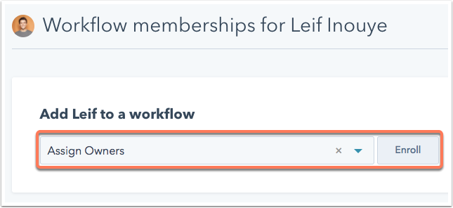 enroll contact into workflow manually