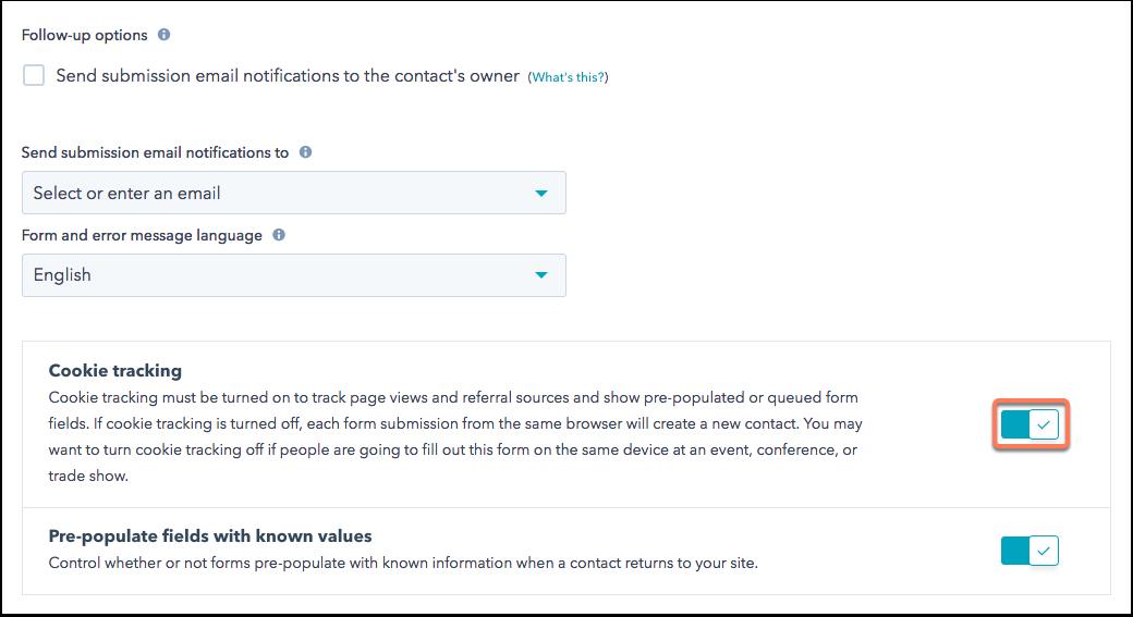 Cookie-Tracking bei Formularen in HubSpot Marketing