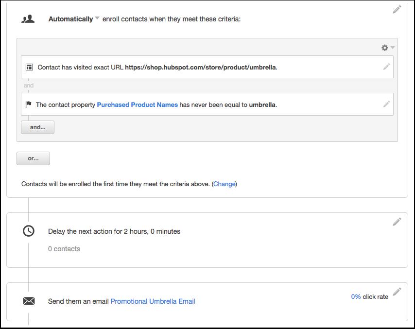 HubSpot Marketing – Workflows – Workflow für Aufrufe von Produktseiten
