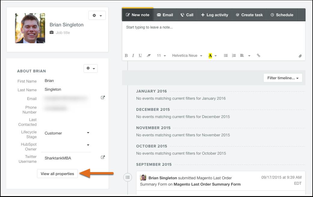 HubSpot Marketing – Kontaktdatenbank – Alle Kontakteigenschaften