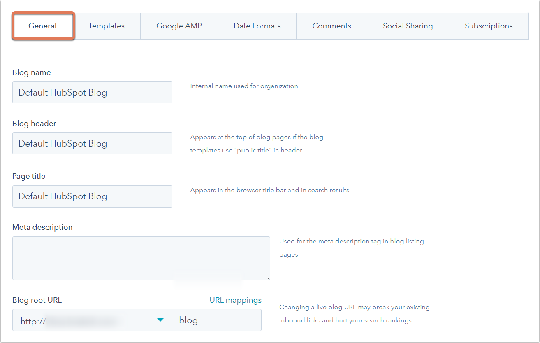 Configuración del blog