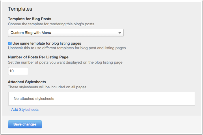 Blog template settings