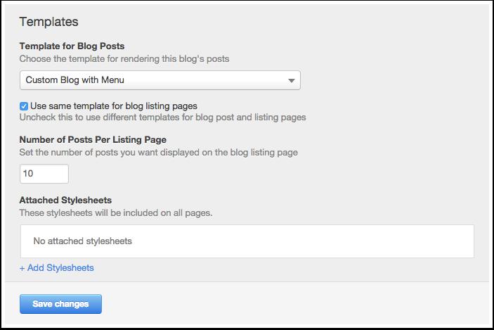 Blog template settings