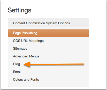 Blog de Configuración de contenido