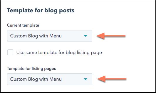 Blog template selection