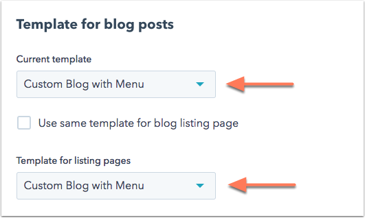 Blog template selection