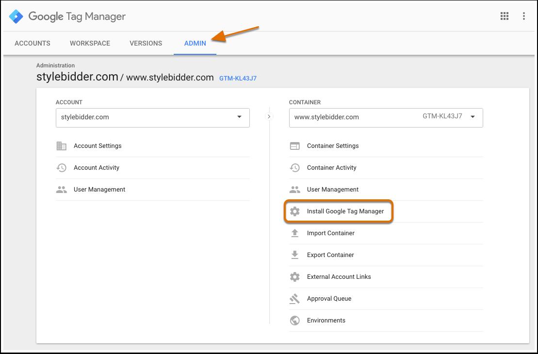 Das Admin-Tab im Google Tag Manager