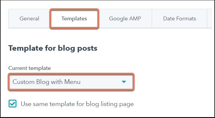 Setting blog template