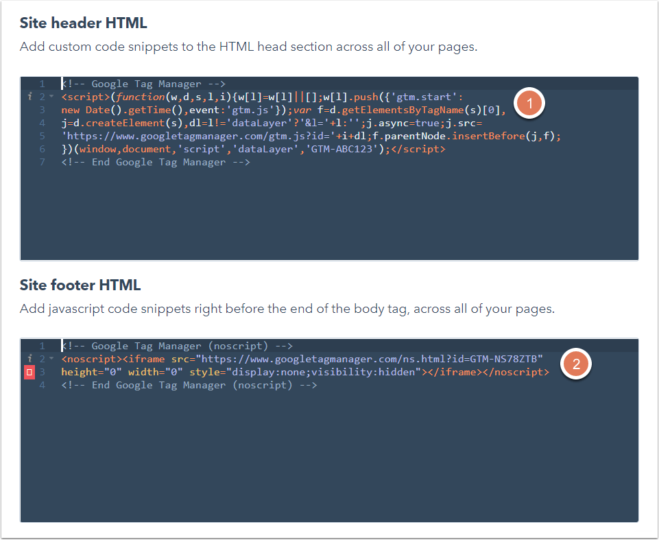 Add code to the head or footer HTML of your pages