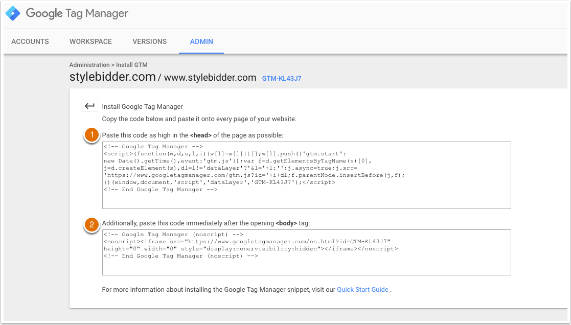 Die Code-Snippets im Google Tag Manager