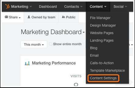 1. Ve a Contenido > Configuración de contenido.