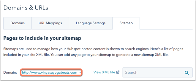 edit the sitemap for a hubspot hosted site