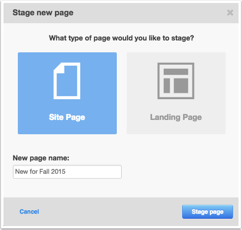 Stage site or landing page